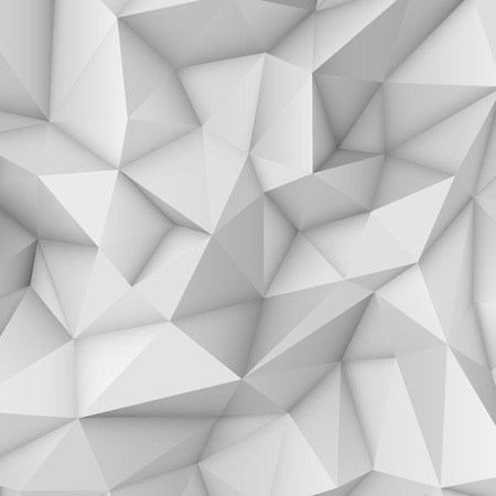 White low polygonal triangular mosaic background for web, presentations and prints. Vector illustration. Realistic 3D design template.
