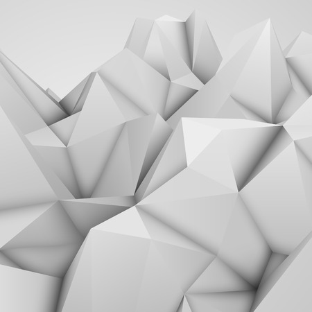 occlusion: White abstract low-poly, polygonal triangular mosaic background for web, presentations and prints. Vector illustration. Realistic 3D design template.