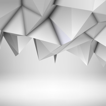 White abstract low-poly, polygonal triangular mosaic background for web, presentations and prints. Vector illustration. Realistic 3D design template.