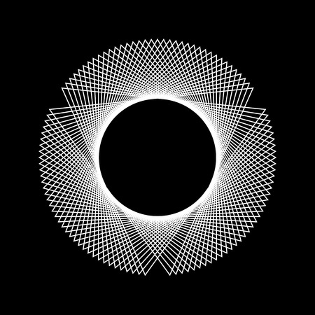 circular shape: White abstract fractal shape with black background for logo, design concepts, web, prints, posters. Vector illustration.