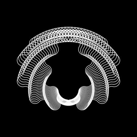 Forma fractal abstracta blanca con fondo negro para, conceptos de dise�o, tela, grabados, carteles. Ilustraci�n del vector. Vectores