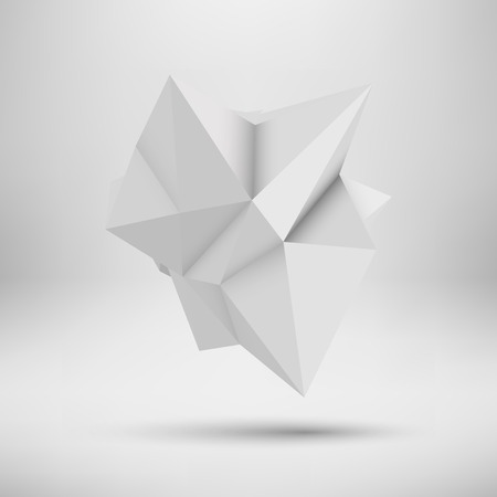 White abstract shape with low-poly, polygonal triangular mosaic texture and realistic shadow for web, presentations and prints. Vector illustration. Realistic 3D render design.
