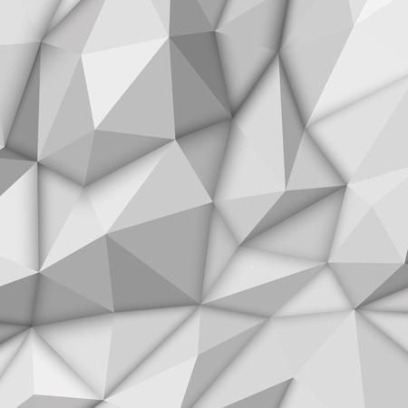 White abstract low-poly, polygonal triangular mosaic background for design concepts, posters, banners, web, presentations and prints. Vector illustration. Realistic 3D render design template Ilustrace