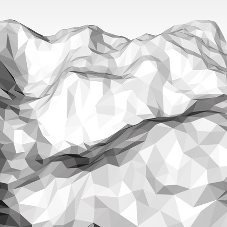 White abstract low-poly, polygonal triangular mosaic elevation background for design concepts, posters, banners, web, presentations and prints. Vector illustration. Realistic 3D render design template