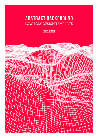 occlusion: White abstract low-poly, polygonal triangular landscape with magenta background for web, presentations and prints. Vector illustration. Realistic 3D design template. Illustration