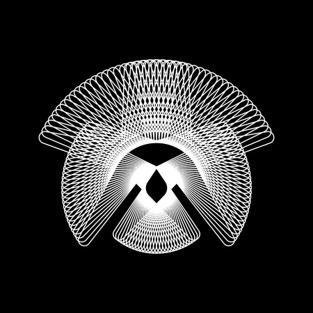 White abstract fractal shape with black background,  design concepts, posters, banners, web, presentations and prints. Vector illustration.