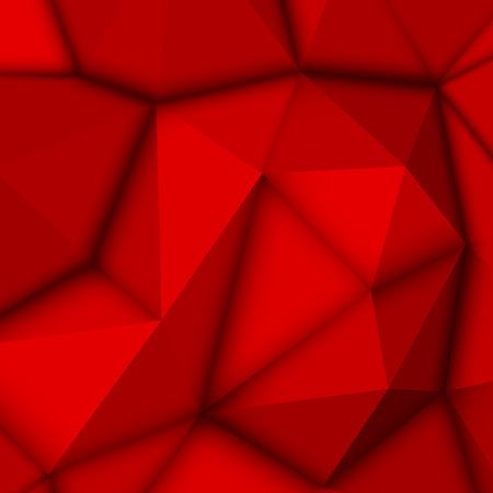 Red abstract low-poly, polygonal triangular mosaic background for design concepts, posters, banners, web, presentations and prints. Vector illustration. Realistic 3D render design template.