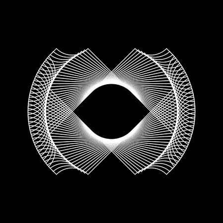 hex: White abstract fractal shape with black background for logo,  design concepts, posters, banners, web, presentations and prints. Vector illustration. Illustration
