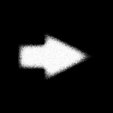 White abstract right arrow sign with film grain, grunge texture