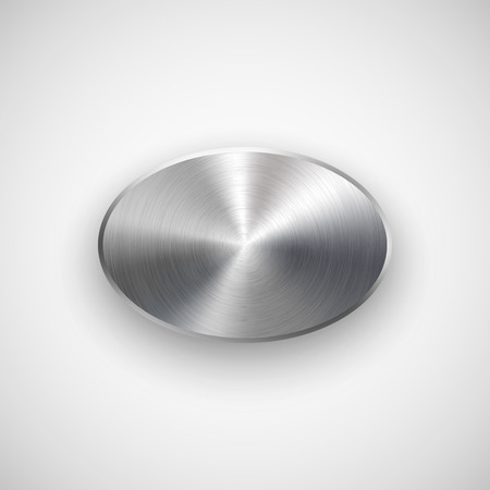 metal: Abstract ellipse badge, blank button template with metal texture Illustration
