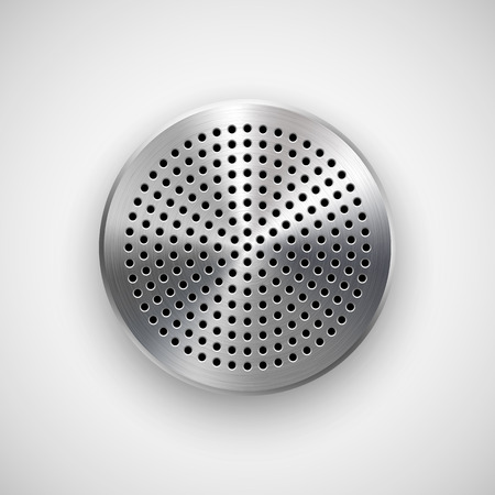speaker: Abstract circle badge, audio button template with circle perforated speaker grill pattern, metal texture