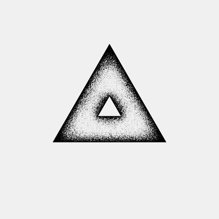 shape triangle: Black abstract geometric shape, triangle badge with film grain, grunge texture and light background for logo, design concepts, posters, banners, web, presentations and prints. Vector illustration.