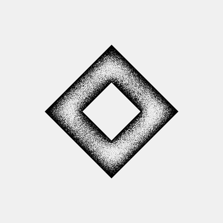 rhomb: Black abstract geometric shape, rhomb badge with film grain, grunge texture and light background for logo, design concepts, posters, banners, web, presentations and prints. Vector illustration.