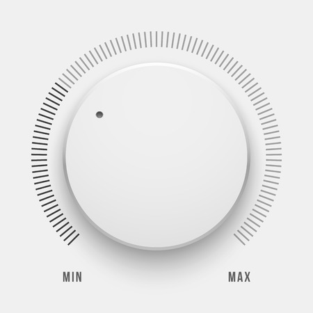 White technology music button, volume knob with realistic designed shadow, range scale and light background for internet sites, web user interfaces, UI, applications, apps. Vector illustration.