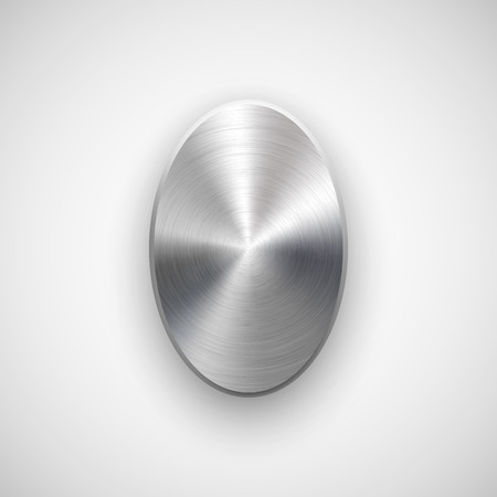 ios: Abstract ellipse badge, blank button template with metal texture (chrome, silver, steel), realistic shadow and light background for web user interfaces, UI, applications and apps. Vector illustration. Illustration