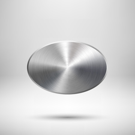 Abstract ellipse badge, blank button template with metal texture (chrome, silver, steel), realistic shadow and light background for web user interfaces, UI, applications and apps. Vector illustration. Illustration