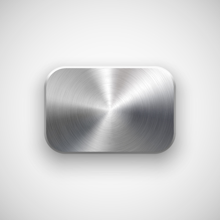silver metal: Abstract rectangle badge, blank button template with metal texture (chrome, silver, steel), realistic shadow and light background for user interfaces, UI, applications and apps. Vector illustration. Illustration