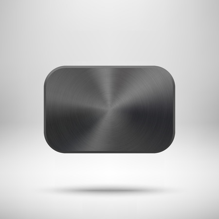 titan: Black abstract geometric shape, rectangle badge, blank button template with metal, chrome texture, realistic shadow and light background for for banners, applications, apps. Vector illustration.