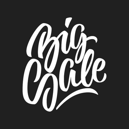 insertion: Big sale light handmade lettering, calligraphy with dark background for banners, labels, badges, prints, posters, web, presentation. Vector illustration.