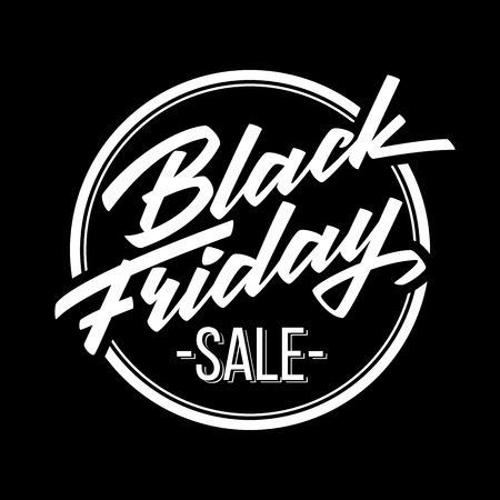 Black Friday Sale badge with handmade lettering, calligraphy and dark background for logo, banners, labels, prints, posters, web, presentation. Vector illustration. Vettoriali