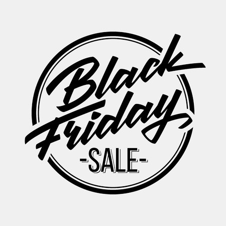 sale sticker: Black Friday Sale badge with handmade lettering
