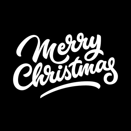 Merry Christmas, xmas badge with handwritten lettering, calligraphy and dark background for logo, banners, labels, postcards, invitations, prints, posters, web, presentation. Vector illustration. Illustration