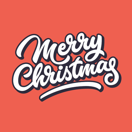 blended: Merry Christmas, xmas badge with handwritten lettering, calligraphy with outline, block blended shade and red background for logo, banners, labels, postcards, prints, posters, web. Vector illustration