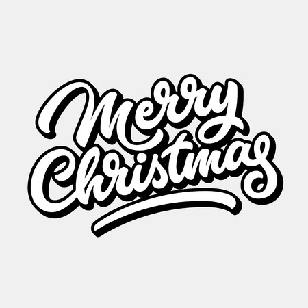 blended: Merry Christmas, xmas badge with handwritten lettering, calligraphy with outline, block blended shade and light background, banners, labels, postcards, prints, posters. Vector illustration