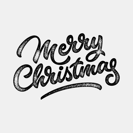 retro christmas: Merry Christmas, xmas badge, handwritten lettering, calligraphy with grain, noise, dotwork, grunge texture and light background, banners, labels, postcards, posters. Vector illustration.