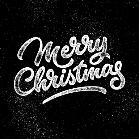 merry christmas: Merry Christmas, xmas badge, handwritten lettering, calligraphy with grain, noise, dotwork, halftone, grunge texture, banners, labels, postcards, posters, web and prints. Vector illustration. Illustration