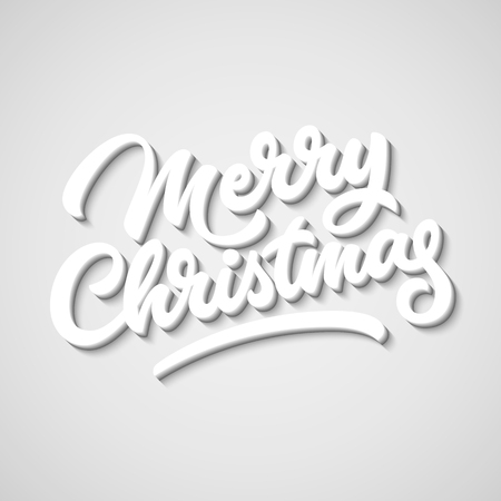 blended: Merry Christmas, xmas badge with handwritten lettering, calligraphy with block blended shade and realistic shadow, banners, labels, postcards, prints, posters, web. Vector illustration