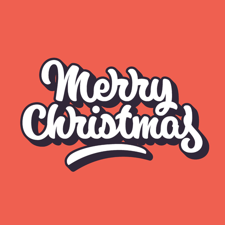 blended: Merry Christmas, xmas badge with handwritten lettering, calligraphy with outline, block blended shade and red background, banners, labels, postcards, prints, posters, web. Vector illustration Illustration