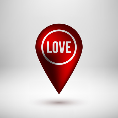 position d amour: Red abstract map pointer badge, gps button with love, valentines day text, realistic shadow and light background