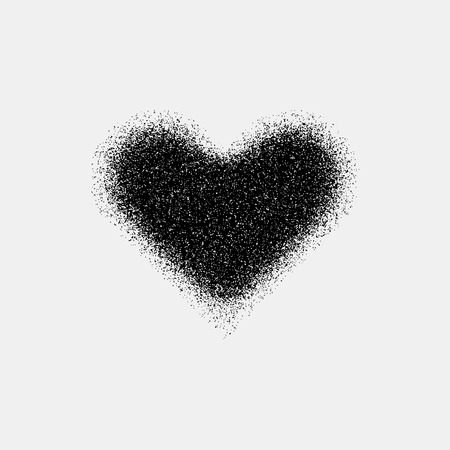heart abstract: Black abstract heart sign badge, Valentines day blank button template with grain, noise, dotwork, halftone, grunge texture
