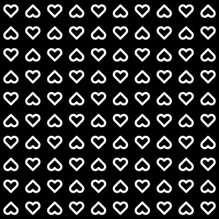 14th: Black abstract background with seamless Valentines white heart signs pattern for logo, design concepts, banners, labels, prints, web, apps, UI. 14th february. Vector illustration. Illustration