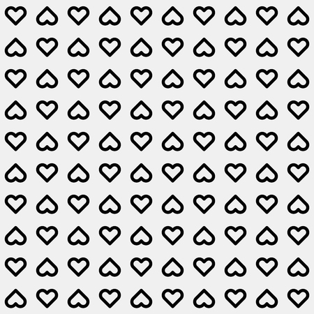 14th: White abstract background with seamless Valentines black heart signs pattern for logo, design concepts, banners, labels, prints, web, apps, UI. 14th february. Vector illustration.