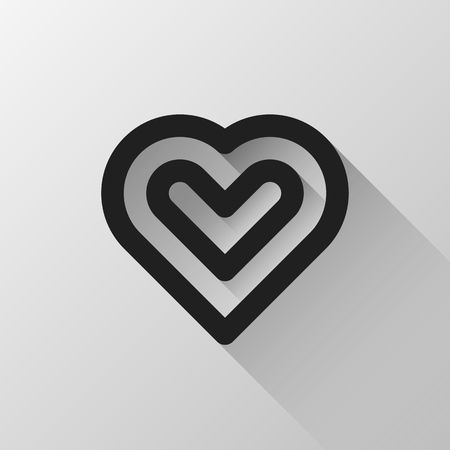 14th: Black abstract Valentines heart, love sign, blank button template with light background for logo, design concepts, banners, labels, prints, web, apps, UI. 14th february. Vector illustration.