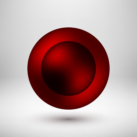 light reflex: Red abstract round premium bubble badge, luxury button template with reflex, realistic shadow and light background for logo, design concepts, banners, web. Vector illustration. Illustration