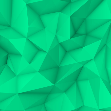 occlusion: Green abstract low-poly, polygonal triangular mosaic background for design concepts, posters, banners, web, presentations and prints. Vector illustration. Realistic 3D render design template.