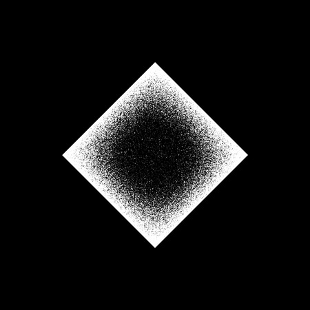 infrared: White abstract geometric shape, rhomb badge with film grain, noise, dotwork, grunge texture and black background for logo, design concepts, posters, banners, web and prints. Vector illustration.