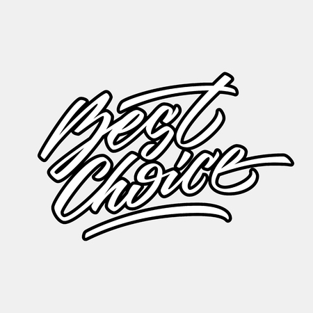 tagging: White best choice handmade lettering, graffiti style italic calligraphy with outlines for logo, design concepts, banners, labels, prints, posters, web, presentation, stickers. Vector illustration.