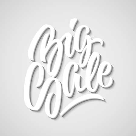 blended: White Big Sale handmade lettering, graffiti style italic calligraphy with 3d block blended shade and shadow for logo, design concepts, banners, labels, prints, posters, stickers. Vector illustration. Illustration