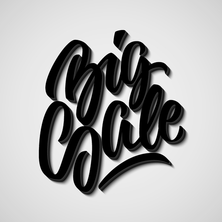 italic: Black Big Sale handmade lettering, graffiti style italic calligraphy with 3d block blended shade and shadow for logo, design concepts, banners, labels, prints, posters, stickers. Vector illustration. Illustration