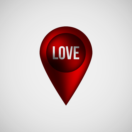 position d amour: Red abstract map pointer badge, gps button with love, valentines day text, realistic reflex and light background for logo, design concepts, banners, applications, apps, prints. Vector illustration. Illustration