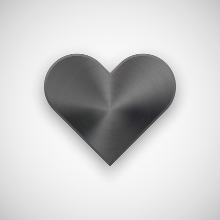 14th: Black abstract heart sign badge, Valentines day blank button template with metal texture, chrome, steel, silver, realistic shadow and light background for web, apps. 14th february. Vector illustration