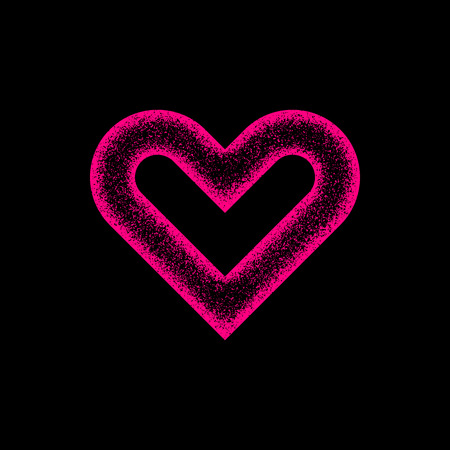 14th: Magenta abstract heart sign badge, Valentines day blank button template with grain, noise, dotwork, halftone, grunge texture for logo, banners, labels, web, prints. 14th february. Vector illustration.