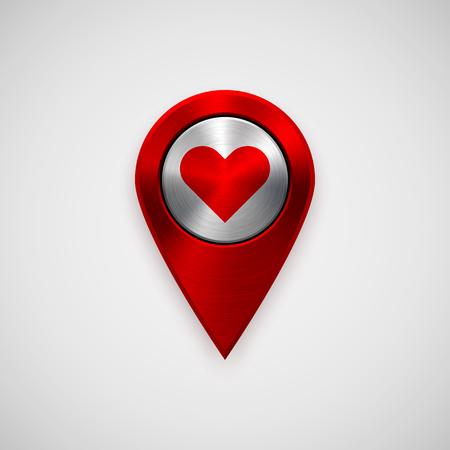 position d amour: technologie Red Badge carte pointeur, GPS mod�le de bouton d'amour, signe de coeur Valentines, la texture du m�tal, chrome, acier, argent pour la conception, les interfaces, l'interface utilisateur, des applications, des applications, web. Vector illustration.