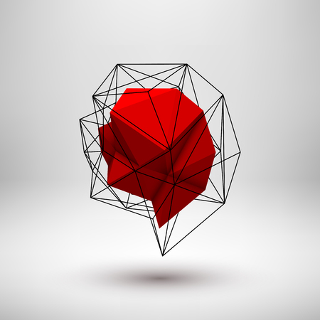 occlusion: Red abstract shape with low-poly, polygonal triangular mosaic texture and realistic shadow for logo, design concepts, web, presentations and prints. Vector illustration. Realistic 3D render design. Illustration