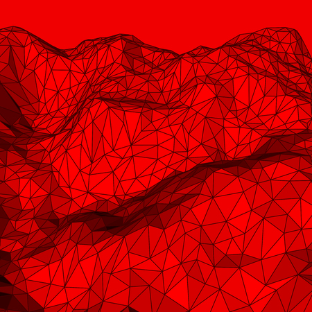 elevation: Red abstract low-poly, polygonal triangular mosaic elevation background for design concepts, posters, banners, web, presentations and prints. Vector illustration. Realistic 3D render design template.