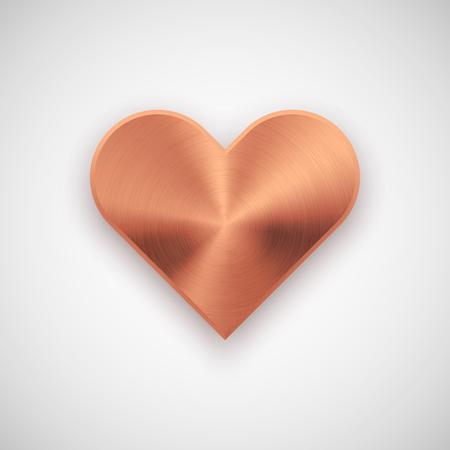 Abstracta de la muestra del corazón insignia de bronce, Valentines plantilla botón en blanco día con textura de metal, cromo, acero, plata, cobre, sombra realista y fondo claro. 14 de febrero. Ilustración del vector.